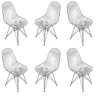 Chrome Re-Edition Eames DKR Wire Side Chairs for Herman Miller - Set of 6