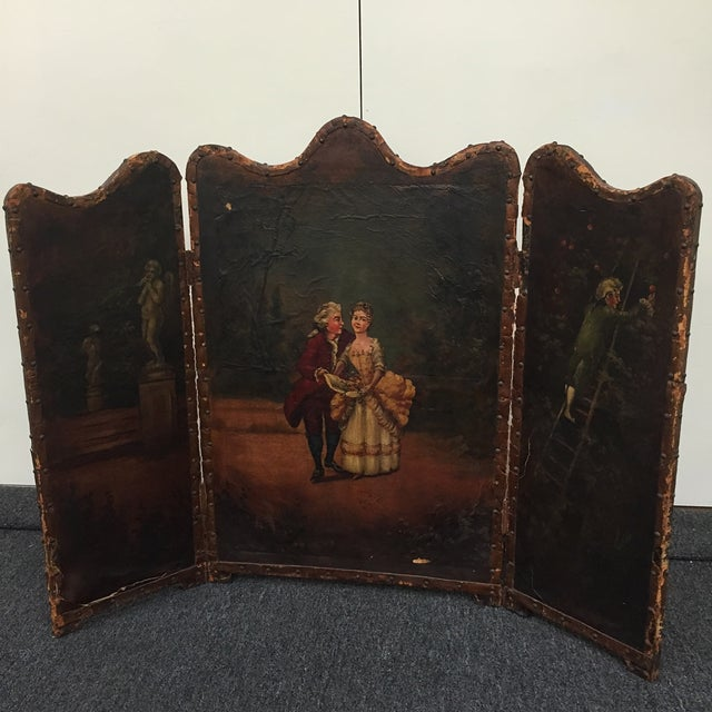 Antique Painted Fireplace Screen - Image 2 of 9