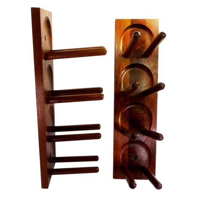 Mid Century Modern Teak Wood Wine Racks - A Pair - Image 1 of 6
