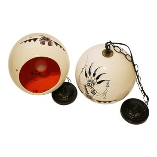 Pair of Vintage Handpainted Pierced Ceramic Southwestern / Pueblo Style Pendant Globe Lights