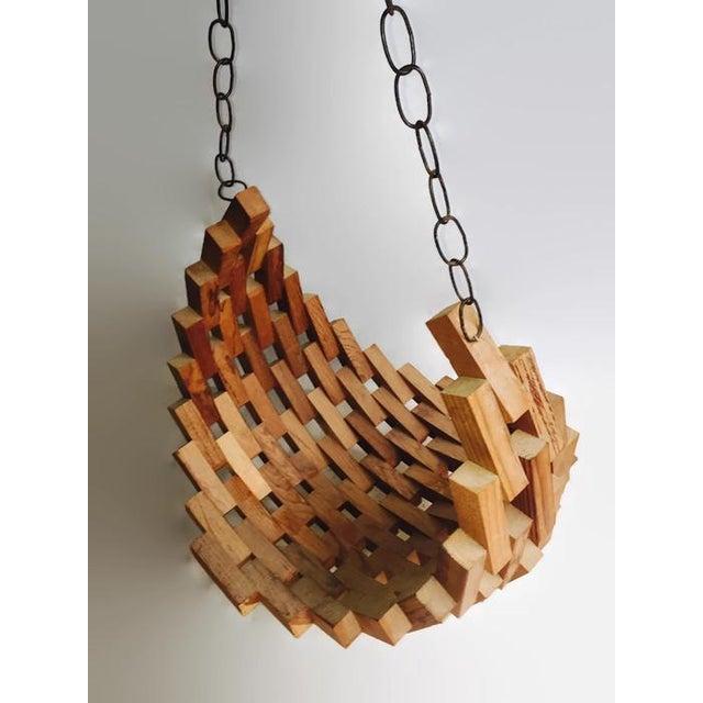 Large Mid-Century Wood Brutalist Hanging Planter - Image 2 of 7