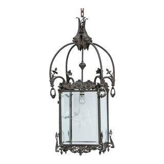 1930s Bronze Lantern With Etched Glass