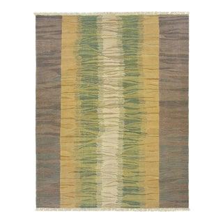 Subdued Color Lanes Turkish Kilim Flatweave   6'1 x 7'9