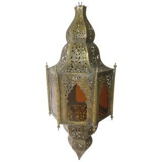 Moroccan Brass & Amber Glass Pendant Light