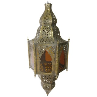 Moroccan Brass & Amber Glass Pendant Light