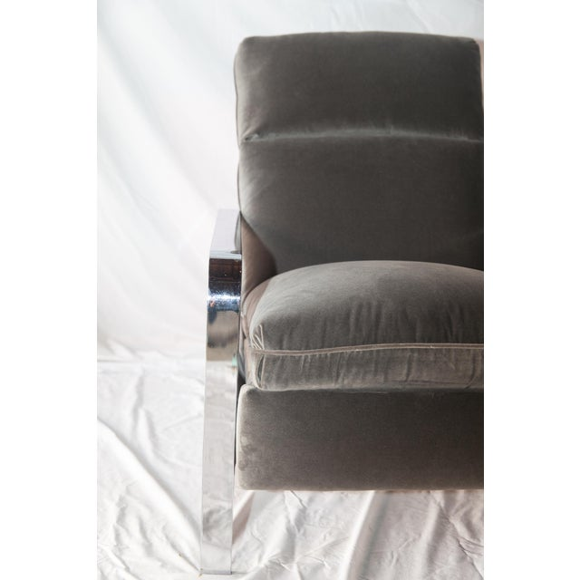 Image of Milo Baughman Style Chrome Recliner