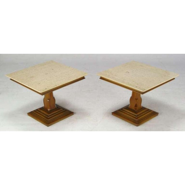 Pair Spanish Revival Maple & Portugese Travertine Side Tables - Image 2 of 7