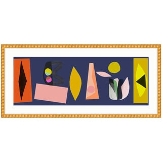 Gold Framed Abstract Colorful Cut-Outs Art Print