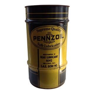 Vintage Industrial Oil Drum - Steel Pennzoil Gear Lubricant Drum
