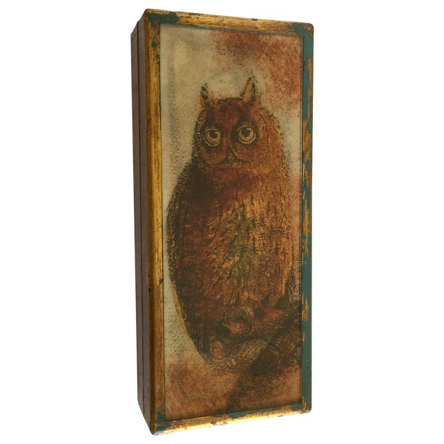 Mid-Century Distressed Owl Box - Image 1 of 9