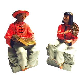 Mid-Century Asian Figurative Bookends - A Pair