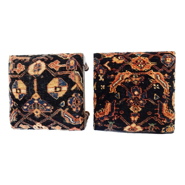 Antique Hamadan Rug Wood Stools - a Pair - Image 4 of 7