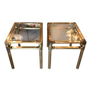 Mastercraft Brass & Glass Side Tables - A Pair