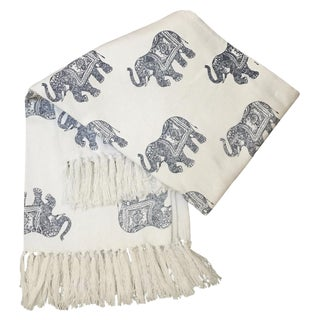 Jungalow Style Navy Blue & White Elephant Print Blanket