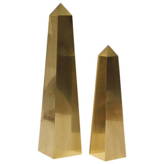Large Vintage Brass Obelisks By Frederick Cooper - Image 1 of 2