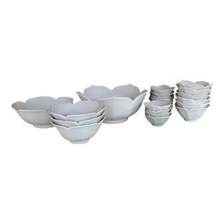 Vintage Lotus Serving Bowls - Set of 22