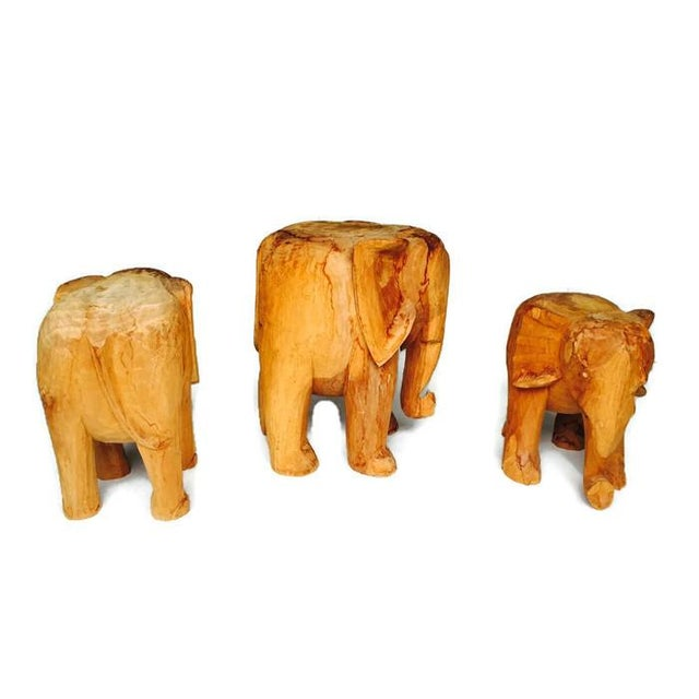 Vintage Solid Wood Carved Elephant Stands - 3 - Image 3 of 7