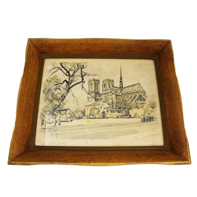 Image of Antique Framed Paris Print of Notre Dame