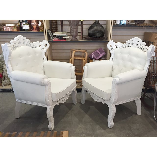 White Rococo Wingback Chairs - A Pair - Image 3 of 11