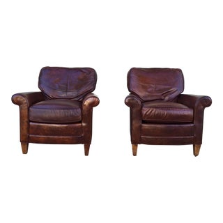 Vintage Brown Leather Lounge Chairs- A Pair