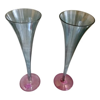 Hand Blown Blue & Pink Venetian Glass Hollow Stem Trumpet Champagne Flutes - A Pair