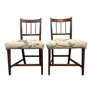 Carved Walnut Floral Upholstered Side Chairs - A Pair