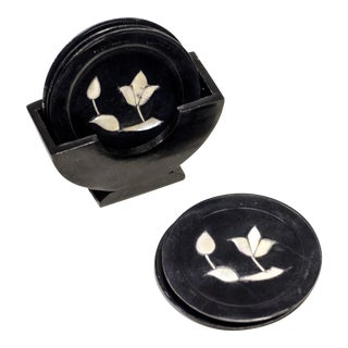 Black Marble Coasters With Mother of Pearl Detail - S/5