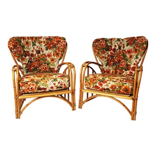 Mid Century Modern Bamboo Accent Chairs - A Pair