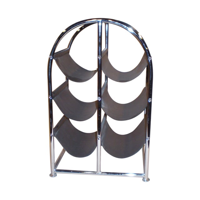 Chrome & Leather Wine Rack - Image 1 of 3