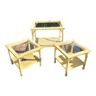 Mid-Century Hollywood Regency Fretwork and Faux Bamboo Detail Side Tables or Nightstands - Matching Set of 3