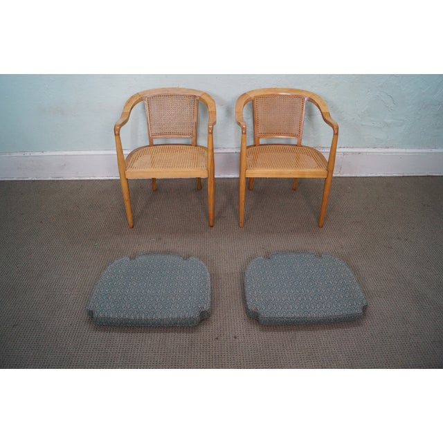 Image of Mid Century Maple/Caned Barrel Back Arm Chairs - 2