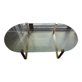 Vintage Gold Brass and Glass Coffee Table