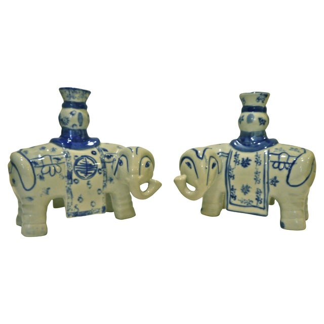 Blue & White Elephant Candleholders - A Pair - Image 4 of 6