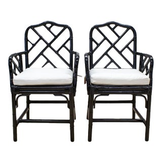 Black Lacquer Bamboo Chinoiserie Chairs - A Pair