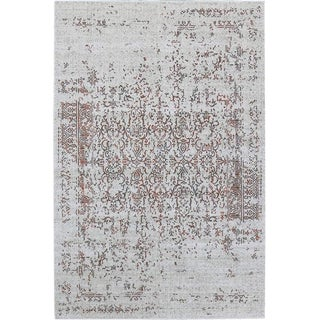 "Distressed Turkish Gray Orange Rug - 5'3"" x 7'7"""