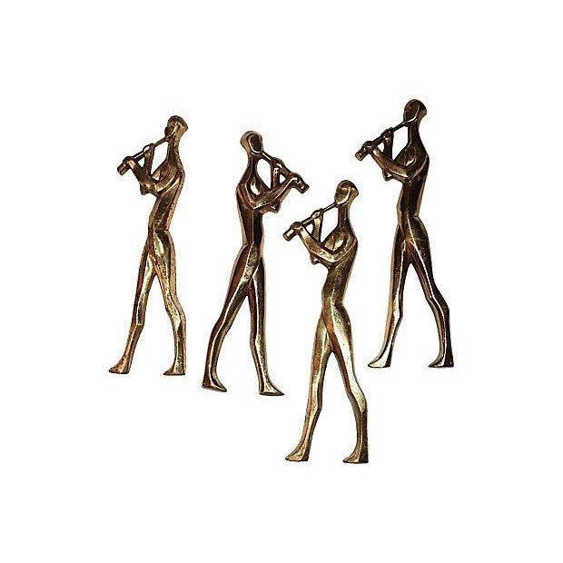 Mid-Century Brass Musicians Wall Hangings - 4 - Image 1 of 8