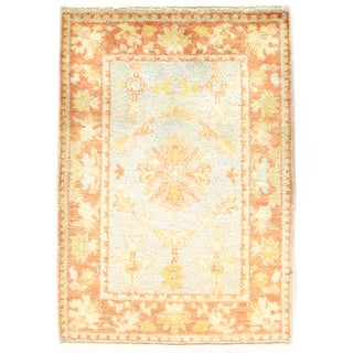 Tan & Blue Oushak Rug - 2'2' X 3'0""