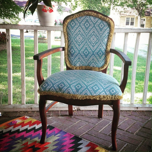 Turquoise Ikat Accent Chair - Image 2 of 4