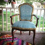 Image of Turquoise Ikat Accent Chair