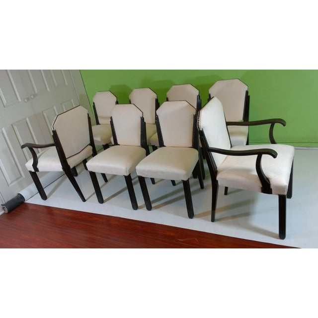 White Suede Deco Dining Chairs - Set of 8 - Image 4 of 11