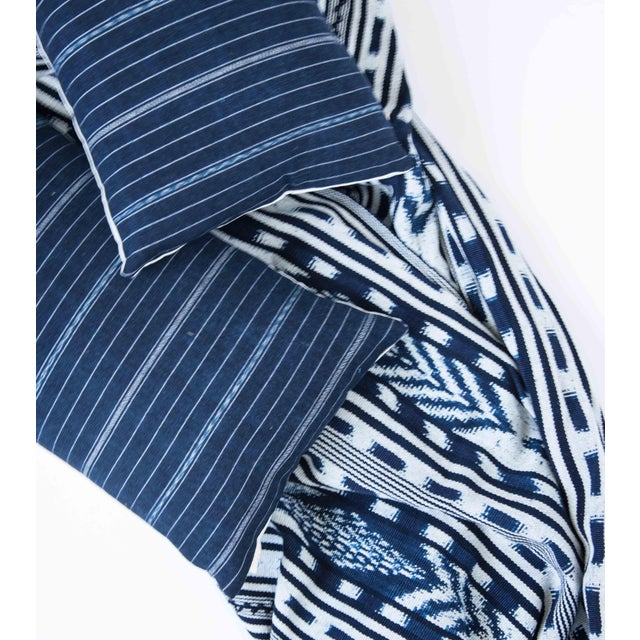 Vintage Striped Ikat Indigo Pillow - Image 7 of 8