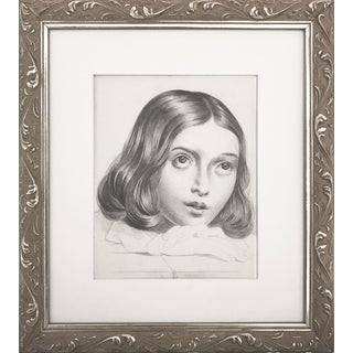 19th C Portrait Drawing of a Young French Girl