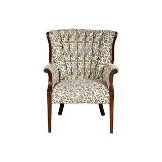 Floral Channel-Back Armchair