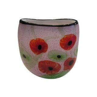 Blown Art Glass Poppy Pattern Vase