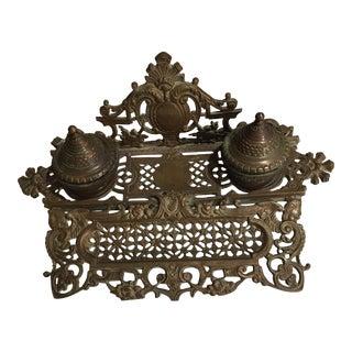 Antique Victorian Inkwell Desk Set