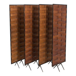 Mid-Century Modern Wrought Iron and Ribbon Wood Screen