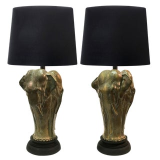 Vintage Brass-Finish Elephant Lamps - A Pair