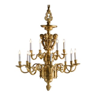 Vintage Louis XIV Style Bronze Doré Two Tier Chandelier, By Repute Juilliard School, New York circa 1920