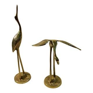 Mid-Century Modern Brass Cranes - A Pair