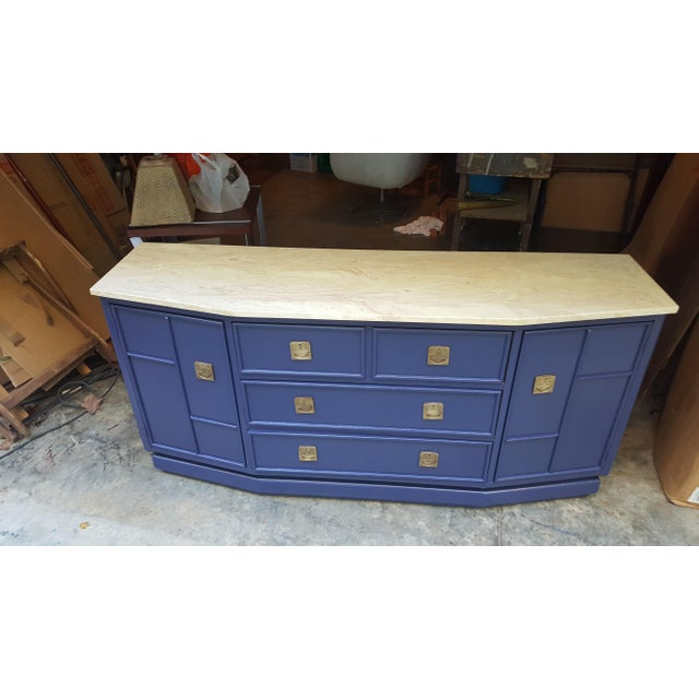 Vintage Campaign Regency Marble Top Painted Sideboard - Image 5 of 10